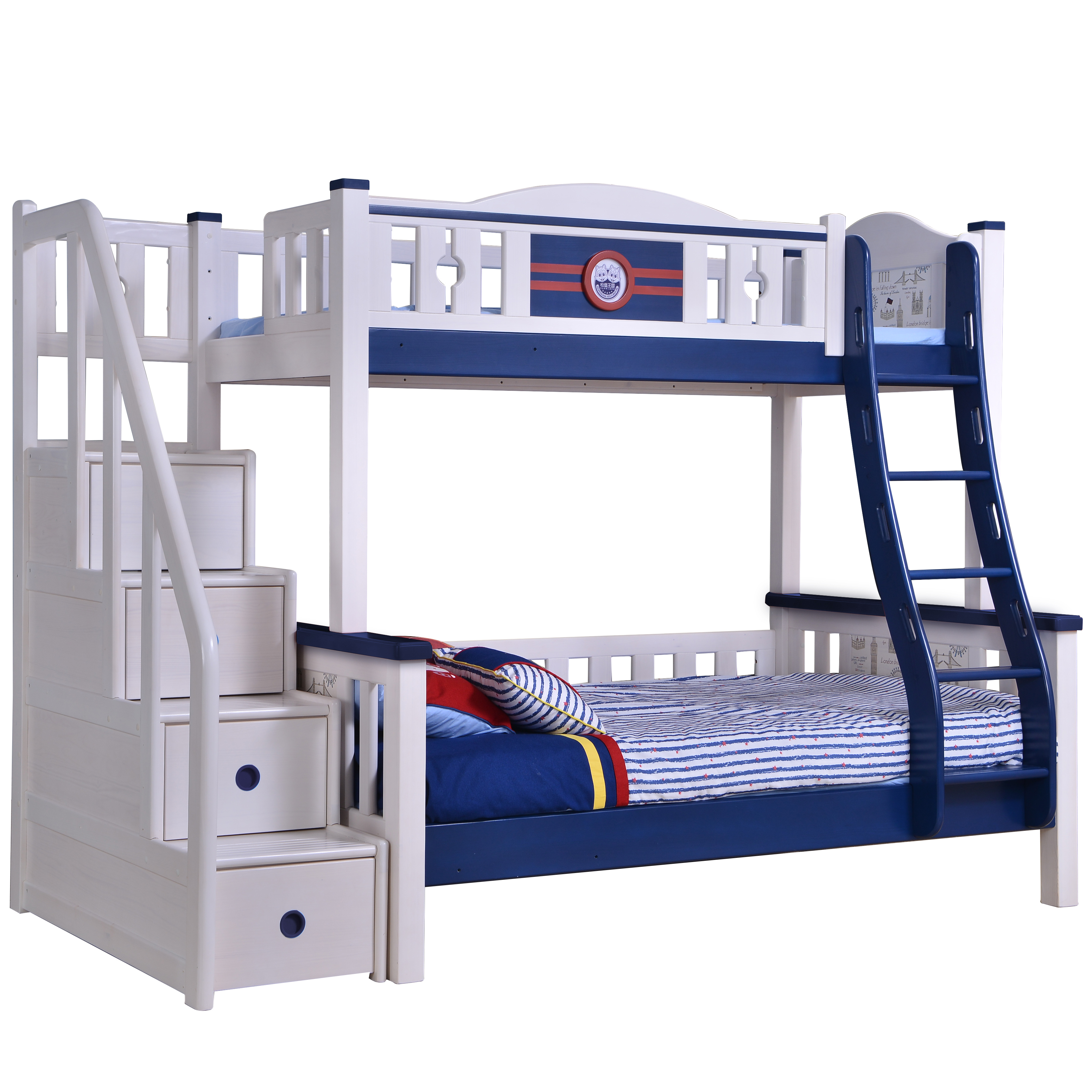 Twin Size Loft Kids Wooden Bunk Bed For Boys Full Size Bed Queen