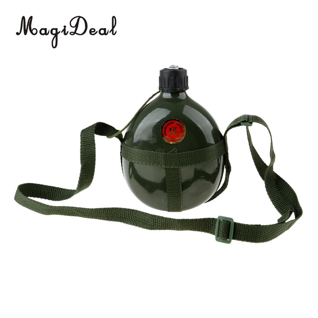 1L Outdoor Camping Hiking Army Green Water Bottle Vintage With Shoulder Strap