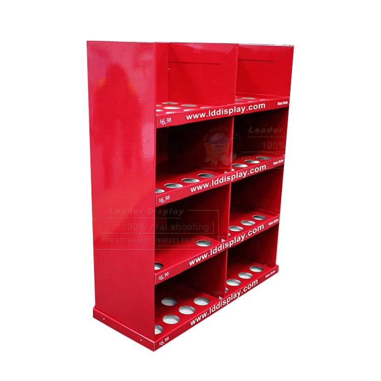 Customized Red Color Cardboard Cup Bottle Display Stand Water Bottle Display Stands