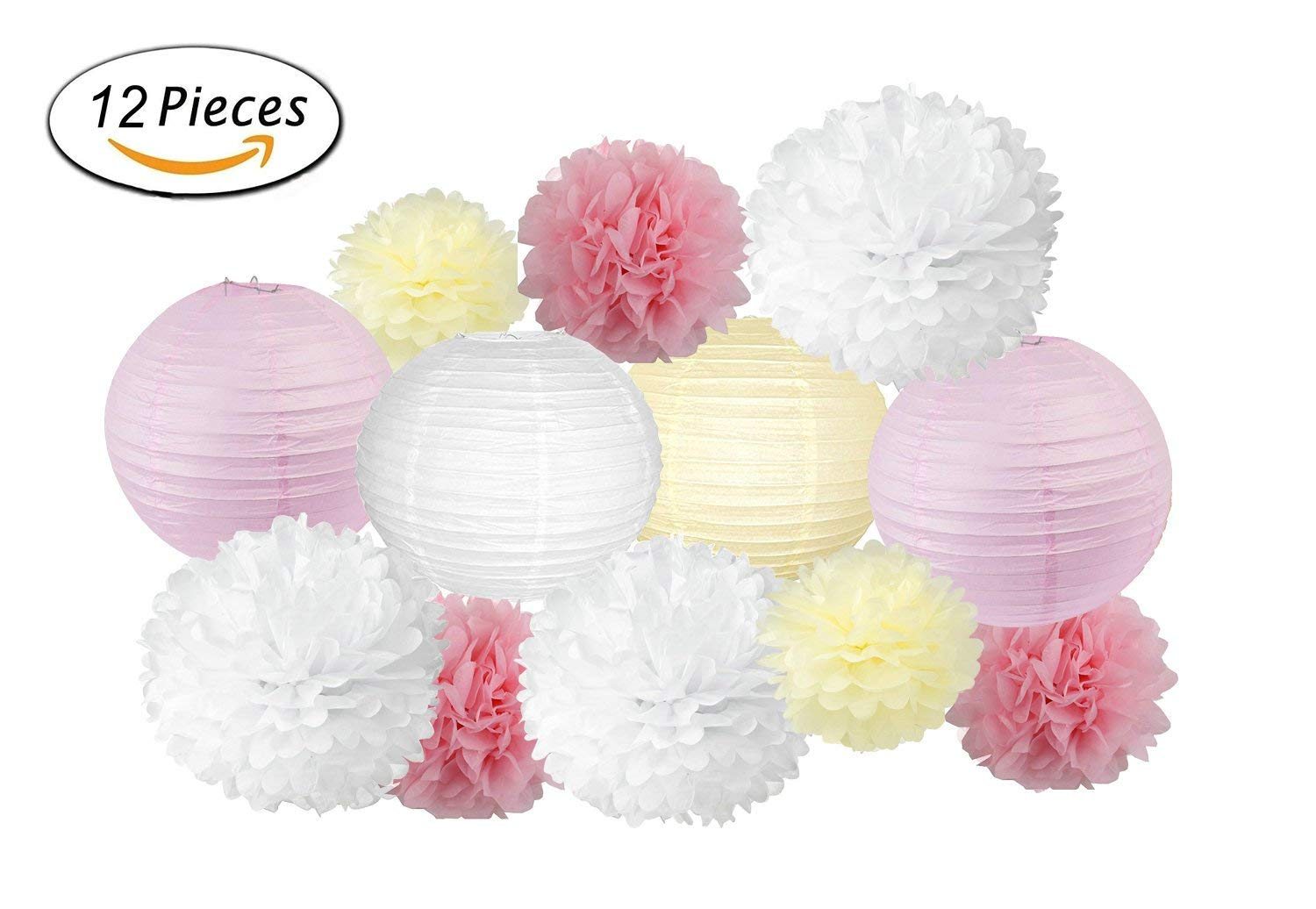 Party Decorations: Larger 12-inch Paper Lantern and Pom Poms – 12 pcs Pink, White, Ivory. Perfect for Baby Showers, Weddings, and Birthdays