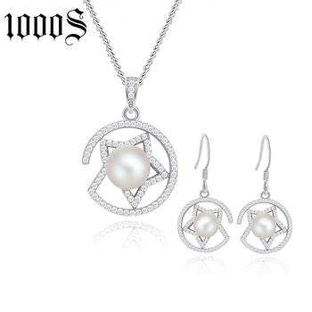 2017 hot sale rhodium plating freshwater pearl jewelry set for party