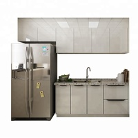 Popular white high gloss PVC plastic plywood project kitchen cabinet design sink kitchen cabinet