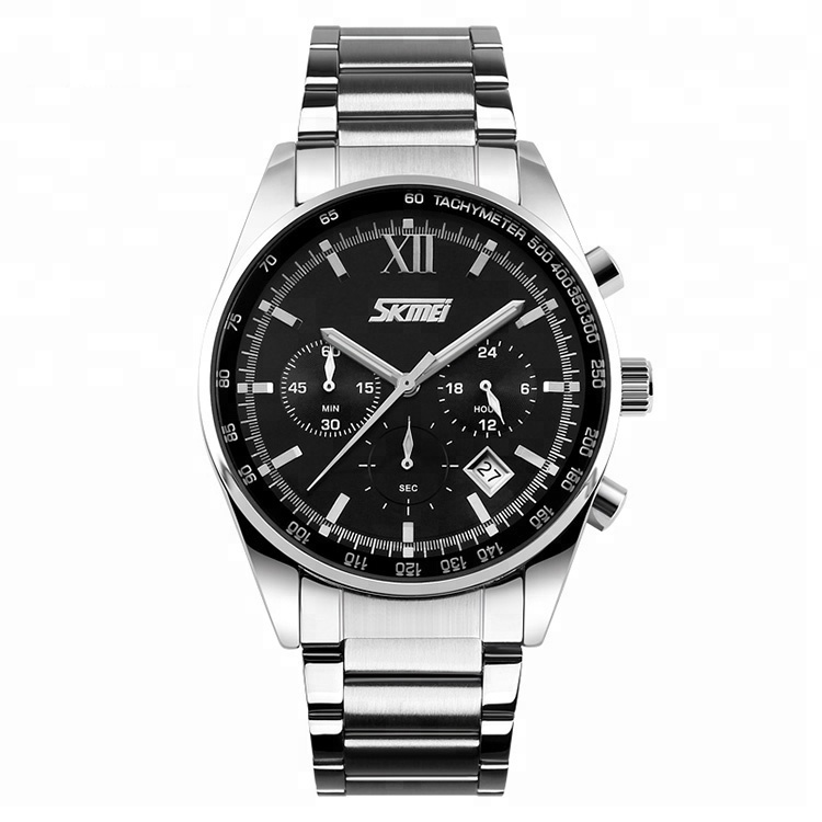 Skmei 9096 hot selling products chronograph quartz mov't men stainless steel watch фото