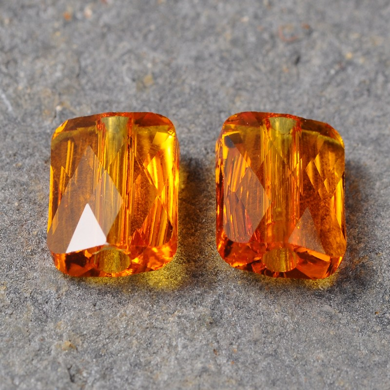 Orange Rectangle Crystal Rondelle Beads