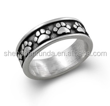 Fashion jewelry 316L Stainless Steel dog jewelry Paw print ring