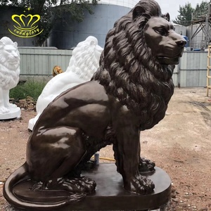 Garden Home decor metal Cast Sitting Bronze Lion Statue