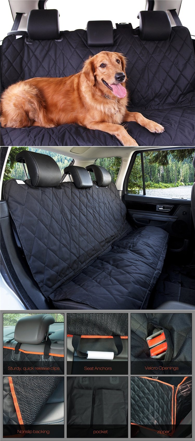 cars car black for hammock nonslip suvs seat waterproof convertible trucks pet backing dog covers cover