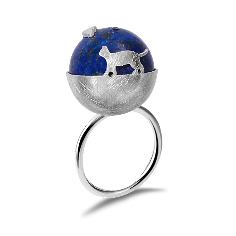 <strong>Silver</strong> Cat's Dream Natural Lapis Stone eagle ring
