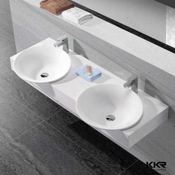 Commercial solid surface double bowl countertop bathroom sink buy double bowl countertop for Double sink countertop bathroom