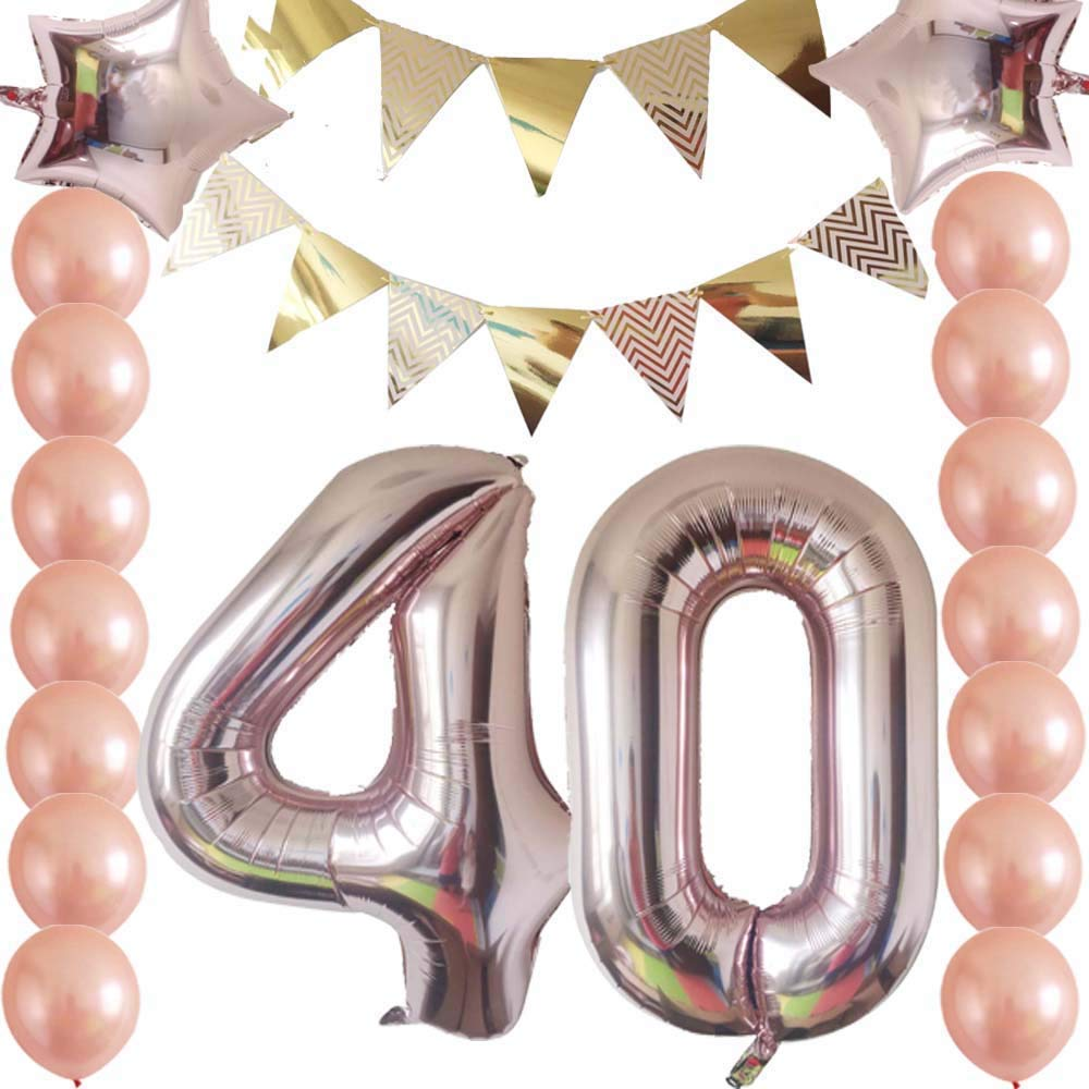 40th Birthday Decorations Party Supplies Kit Rose GoldFunny Happy Banner