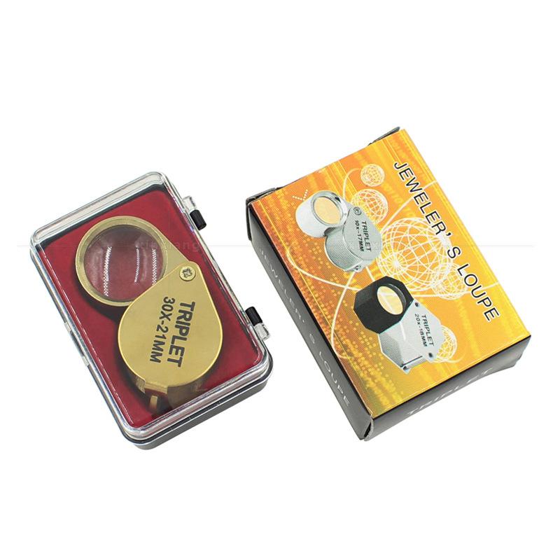 Terbaik Jual Portable Perhiasan Pembesar 30X Kaca Pembesar Mini Triplet Perhiasan Kaca Pembesar untuk Membaca