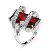 FC272 Emerald Cut Silver Cubic Zirconia Rosary Ring Women Stackable Band Engagement Red Created Garnet Ring