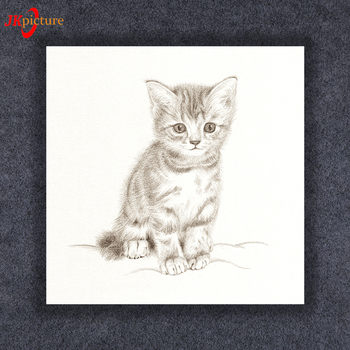 Sketch Style Cat Picture Decor Art Wall Hanging Painting Canvas