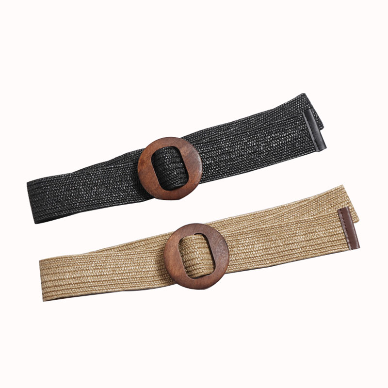 Women Fashion Wooden Buckles Own Design Clothing Braided Webbing Belts