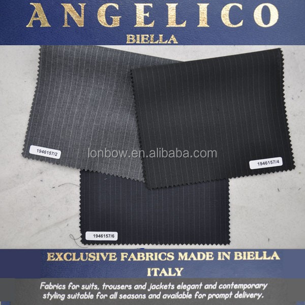 High value imported italian vertical stripe worsted wool fabric for goverment