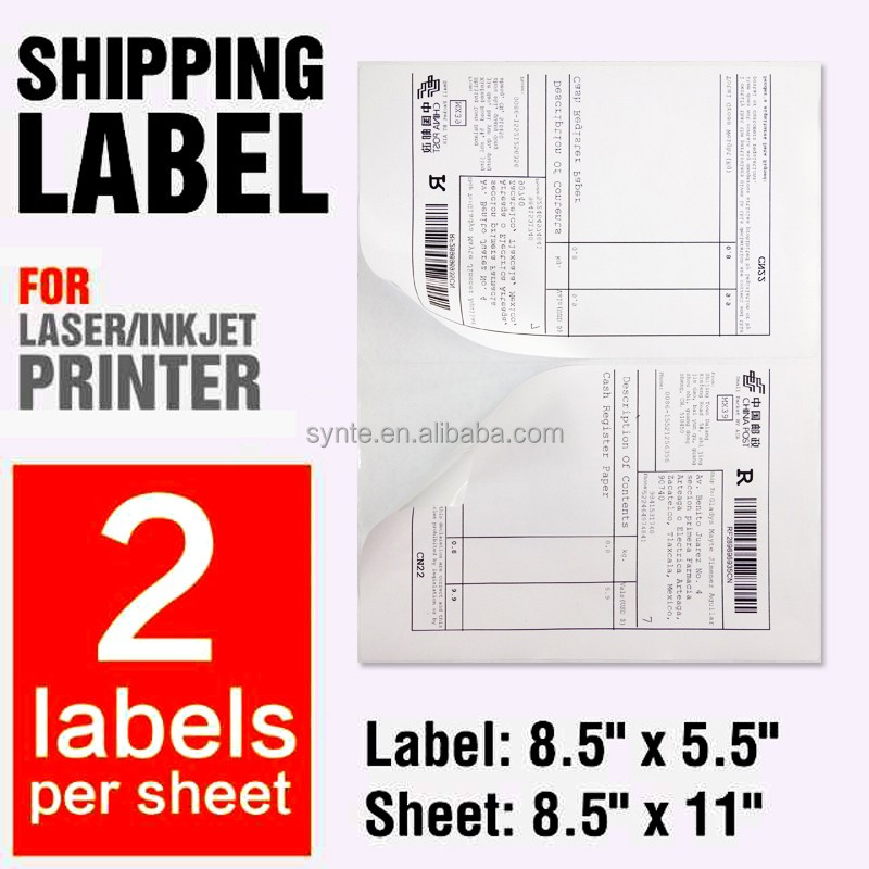 Blank Shipping Label 8.5x5.5 A4/letter Stickers 2 Per Sheet Size 5-1 ...