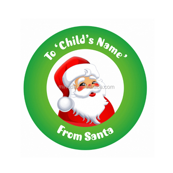 Custom round christmas packaging labels christmas stickers roll