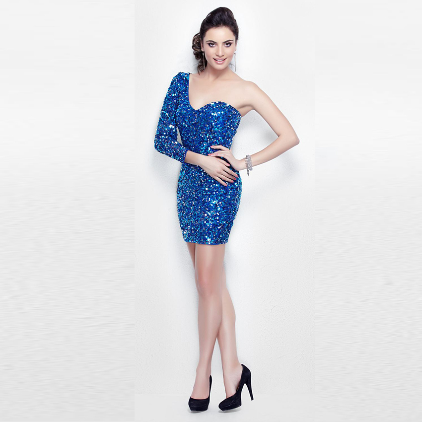 e5f31cfc64 Get Quotations · Vestido Do Baile 2015 Silver Beading Mini Sweetheart  Neckline Prom Gown One Shoulder Royal Blue Short