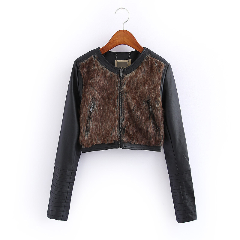 2015 Autumn new women Sleeved front panel Plush stitching short paragraph Leather clothing Women's Coat XY7635