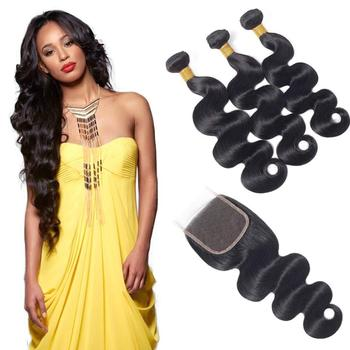 baoli 2019 hot sale body wave hair bundles with lace closure 4*4,wholesale price human hair cuticle aligned wholesale price