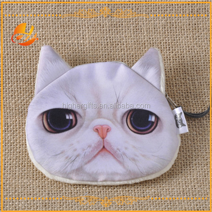 Children gift cute 3D cat shaped Short plush mini coin bag/wallet with zipper