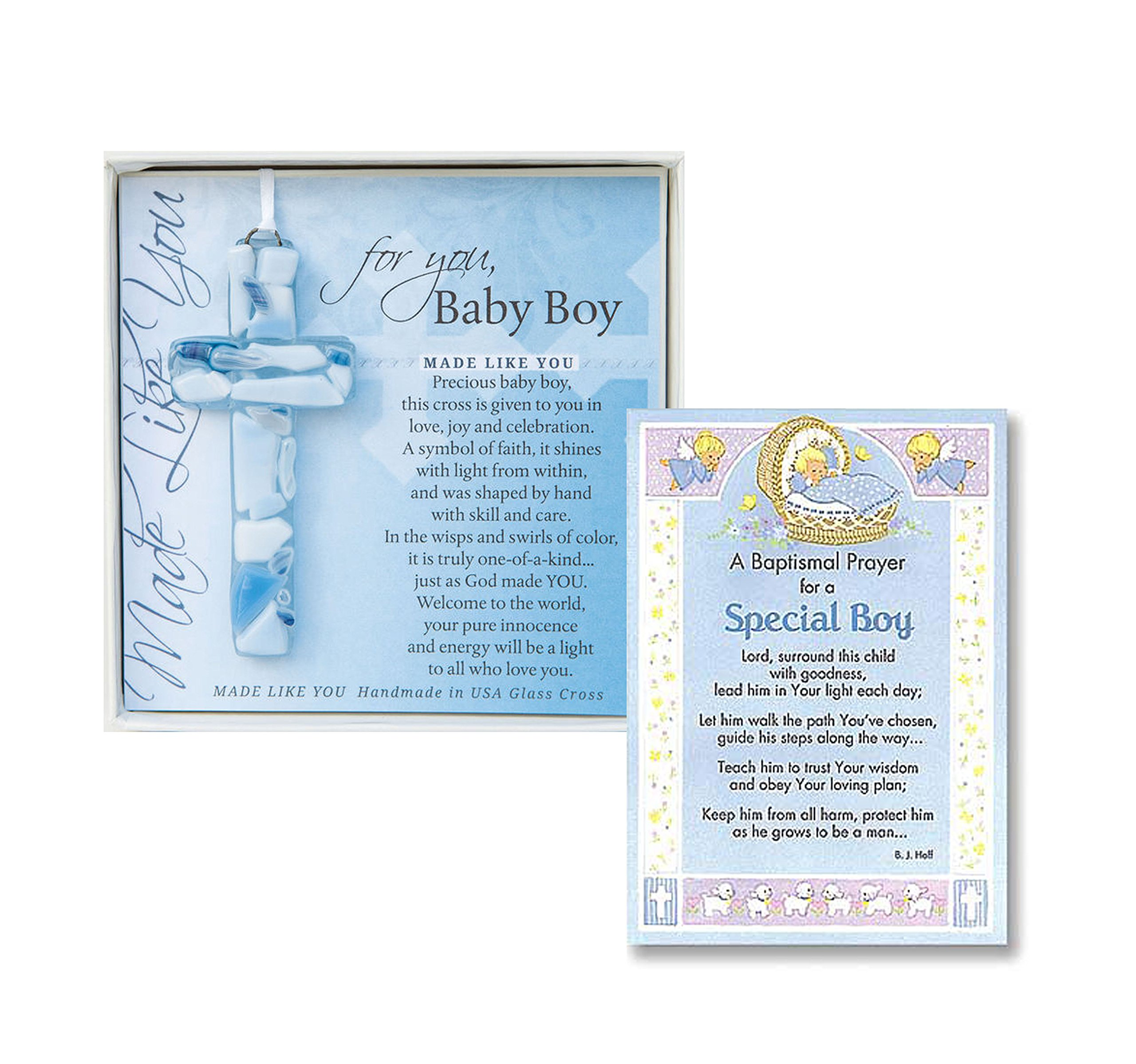 Baptism Wall Cross Christening Gifts For Boys Gift Set Handmade in the USA Glass Cross for