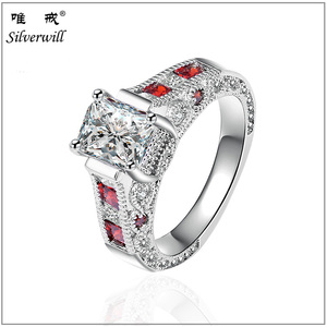 Princess cut 925 silver ring with clear zircon made in china square big stone ring