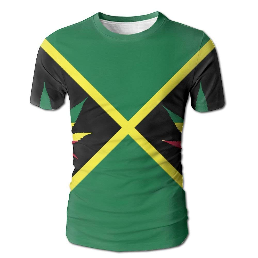 2a38df16201a Get Quotations · Jamaica Flag Weed Leaf Men's Short Sleeve Shirt Cool  Graphics Tees Tops