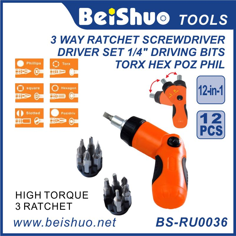 12 in 1 Pack Angled Ratchet Screwdriver