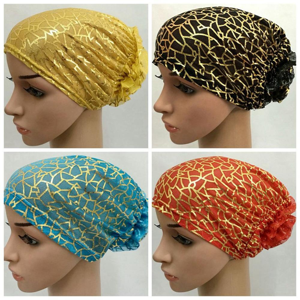 Tulle Fleur D\u0027or Ligne Musulman Hijab Musulman Tête Revêtements Islamique  Chapeau Cap de la