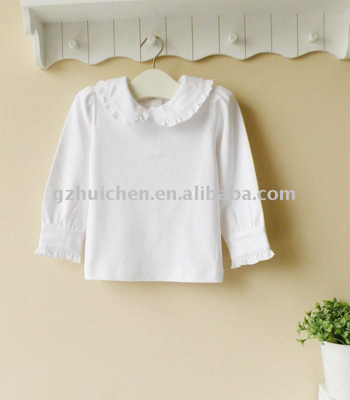 2011 autumn baby clothing 100% cotton plain white long sleeve t-shirt