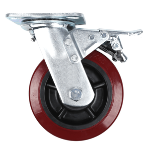 Heavy Duty Wine Red PU Caster Wheel with Stopper