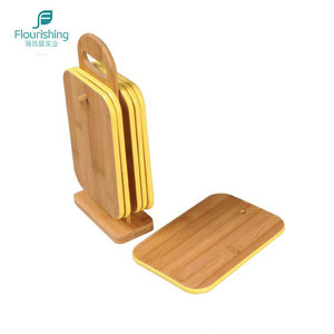 7 Pcs Wooden Bamboo Chopping Cutting Board Set With Storage Stand