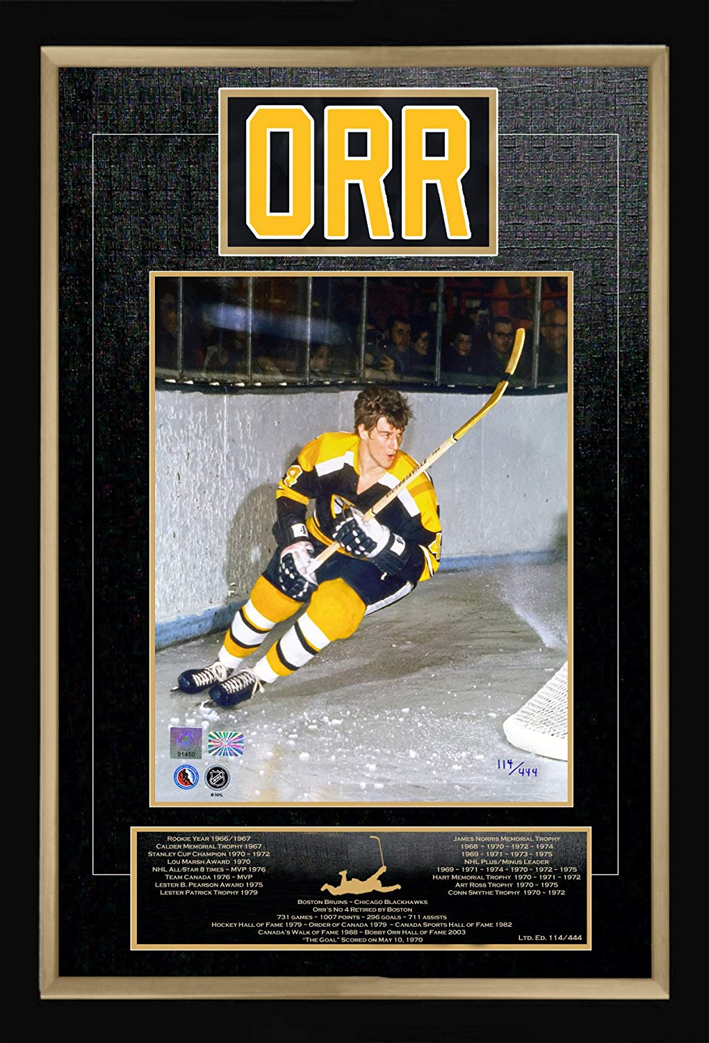 ed6013bd8 Get Quotations · Autograph Authentic AACMH31258 Museum Framed Bobby Orr  Career Collectible Namebar - Ltd Edition of 444