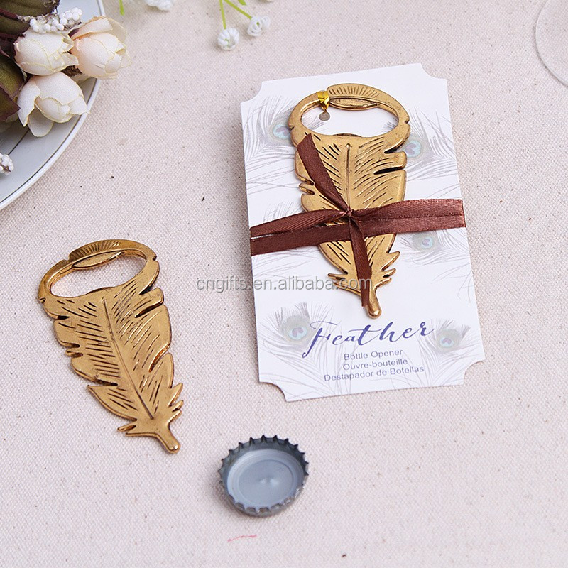 Ywbeyond wholesales romantic zinc alloy feather beer bottle opener wedding party table decoration, bridal shower gifts for guest