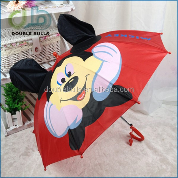 Straight kid umbrella with auto open customized photo print cheap price umbrella