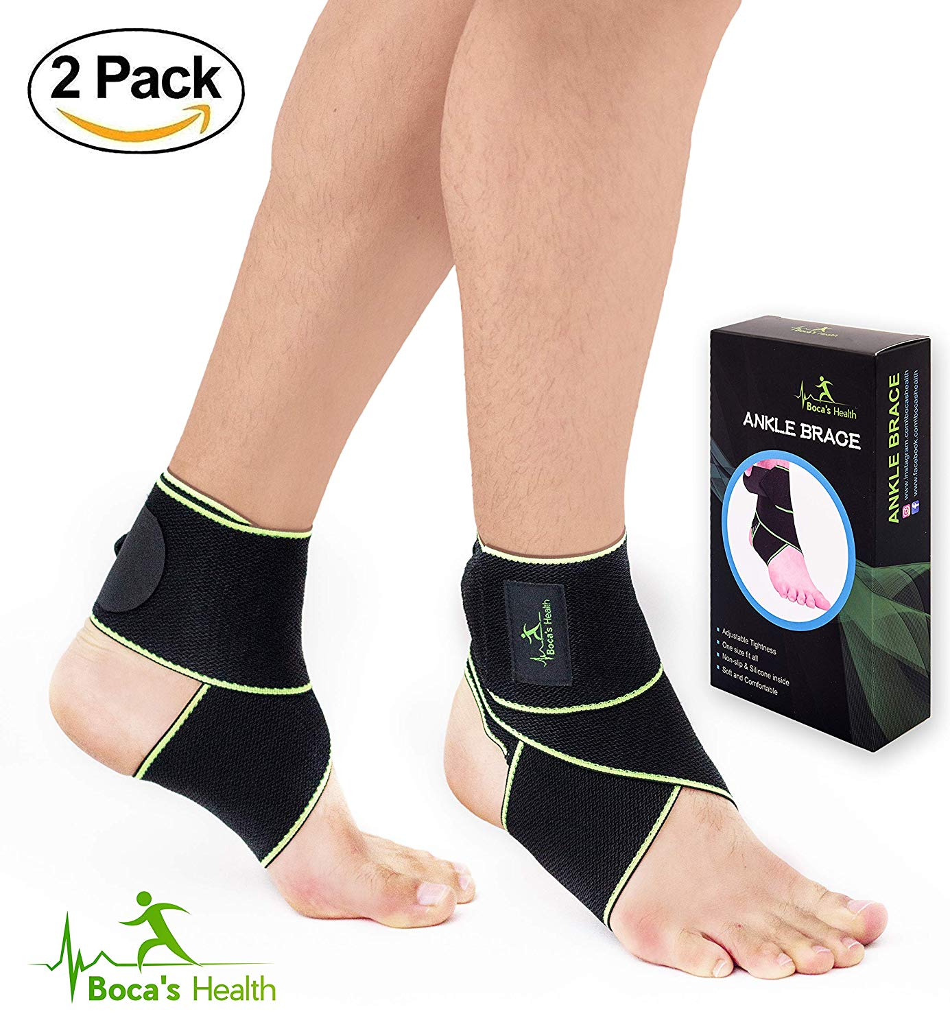 b99d98a36f8d Ankle Brace for Women and Men - Adjustable One Size Fits All - Comfortable  and Elastic