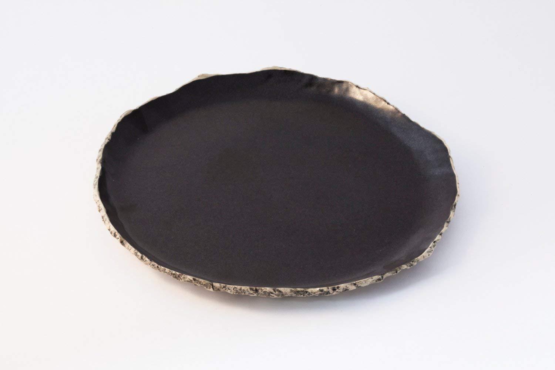 Black breakfast plate, Ceramic plate, Handmade dinnerware plate, Stoneware plates, Rustic pottery dish, serving plate, Wedding gift