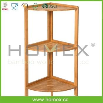 3 tier bathroom corner shelfbamboo corner rack factory