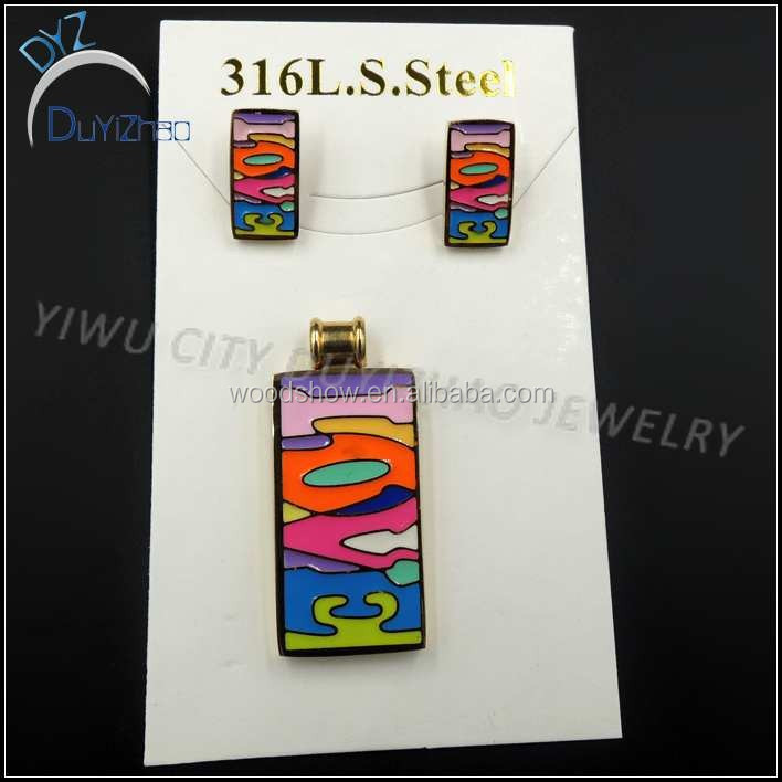 latest stainless steel enamel earrings pendant gold plated jewelry sets