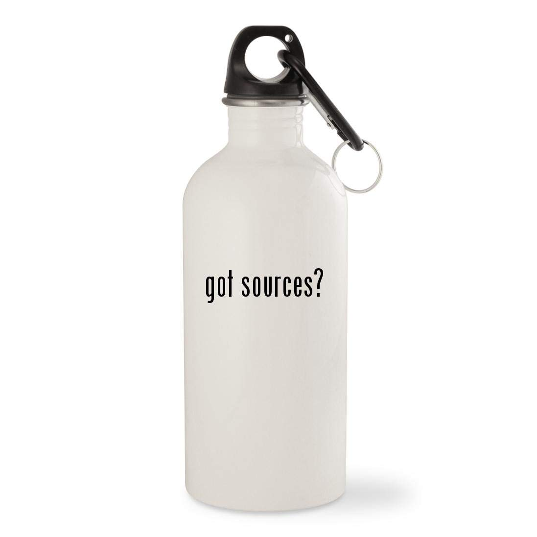got sources? - White 20oz Stainless Steel Water Bottle with Carabiner
