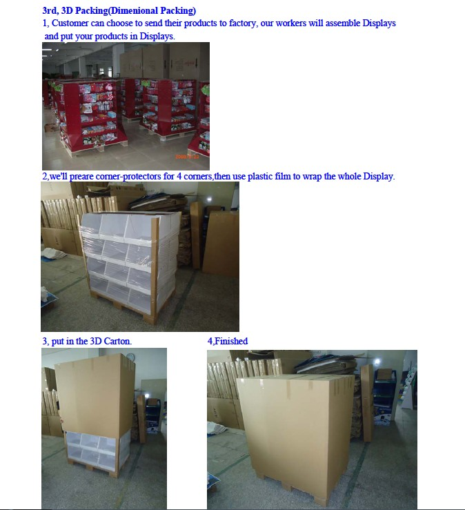 Chinese manufacturer of Corrugated retail display rack grocery store display shelf