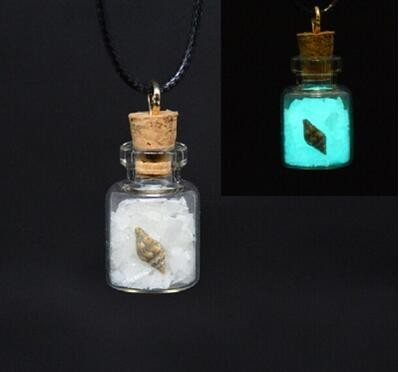 Magical Pixie Fairy Dust Sand Glow In The Dark Charm Wishing Glass Bottle Necklace