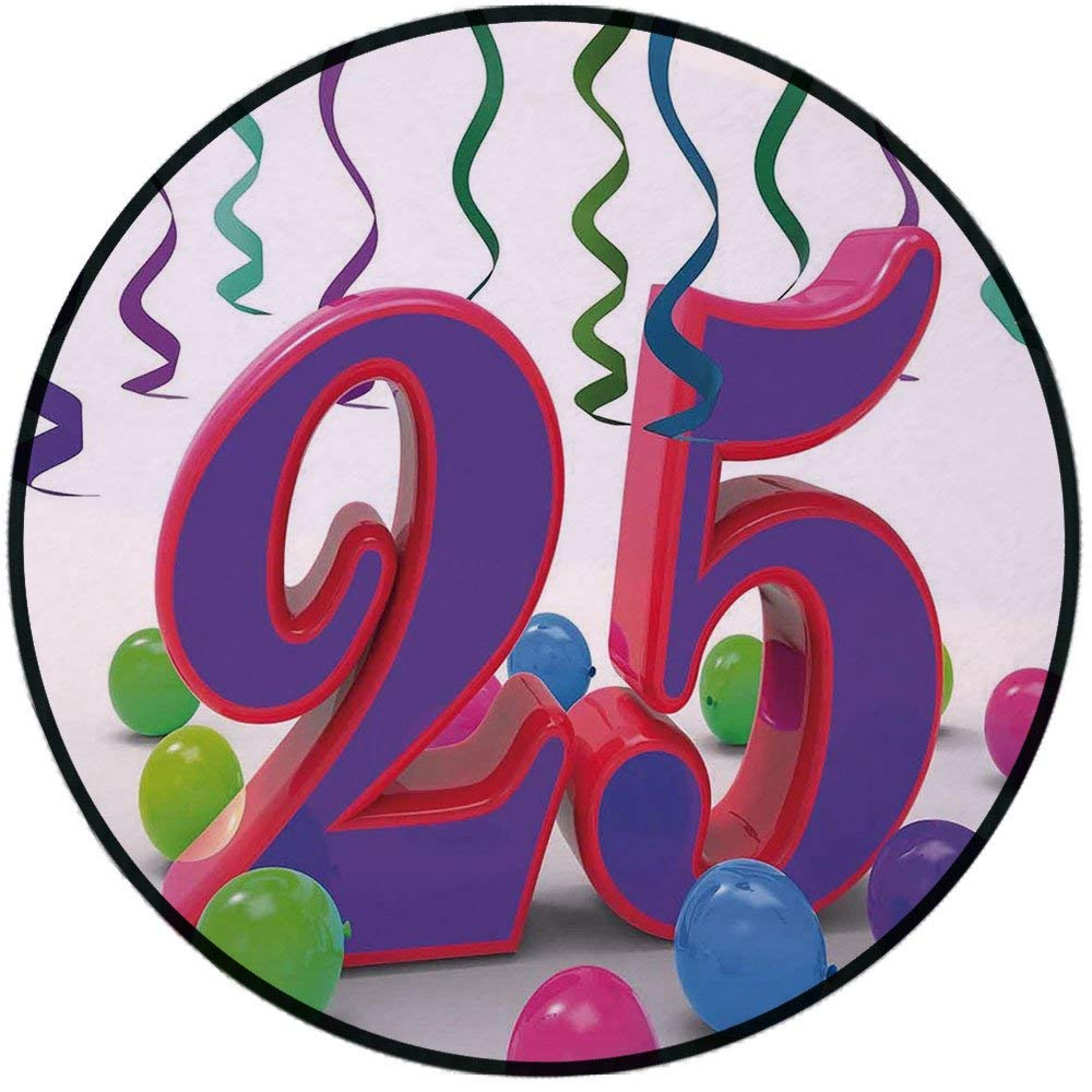 Printing Round Rug,25th Birthday Decorations,Birthday Party Set Up Colorful Ribbons and Balloons on the Ground Mat Non-Slip Soft Entrance Mat Door Floor Rug Area Rug For Chair Living Room,Multicolor