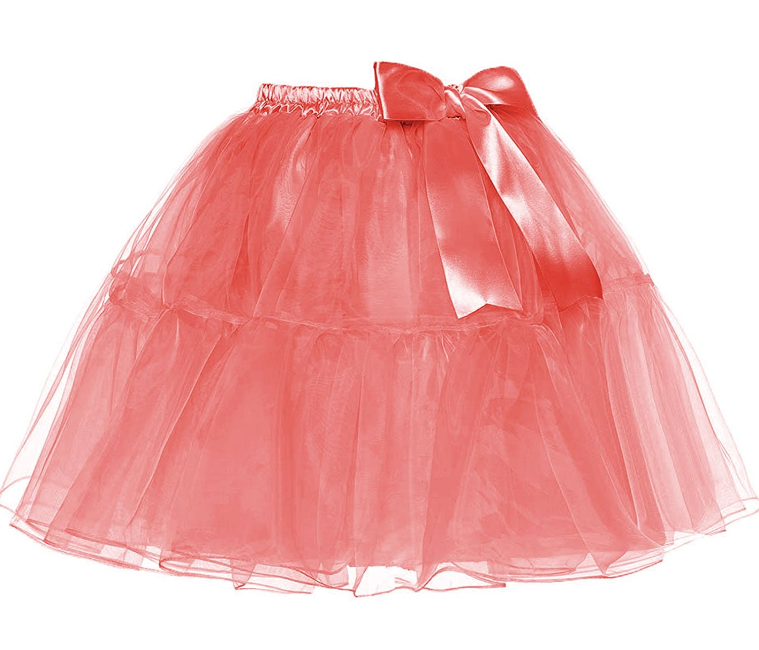 30e0c243af Get Quotations · DYS Women's 1950s Knee Length Petticoat Slips Organza Petticoats  Skirt Bowknot