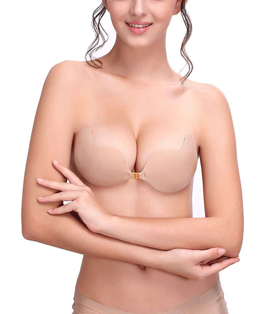 e0257a8c2abc1 Get Quotations · AVIGOR Women s Strapless Sticky Bra Self Adhesive Silicone  Invisible Bras Reusable Sticky Backless Bras