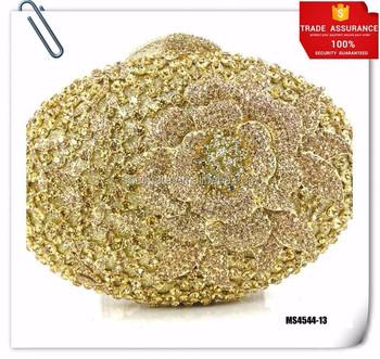 Women Gold Clutch Bags Crystal Evening Purse Pearl Diamonds Golden Handbags Wedding Bridal Party Bag