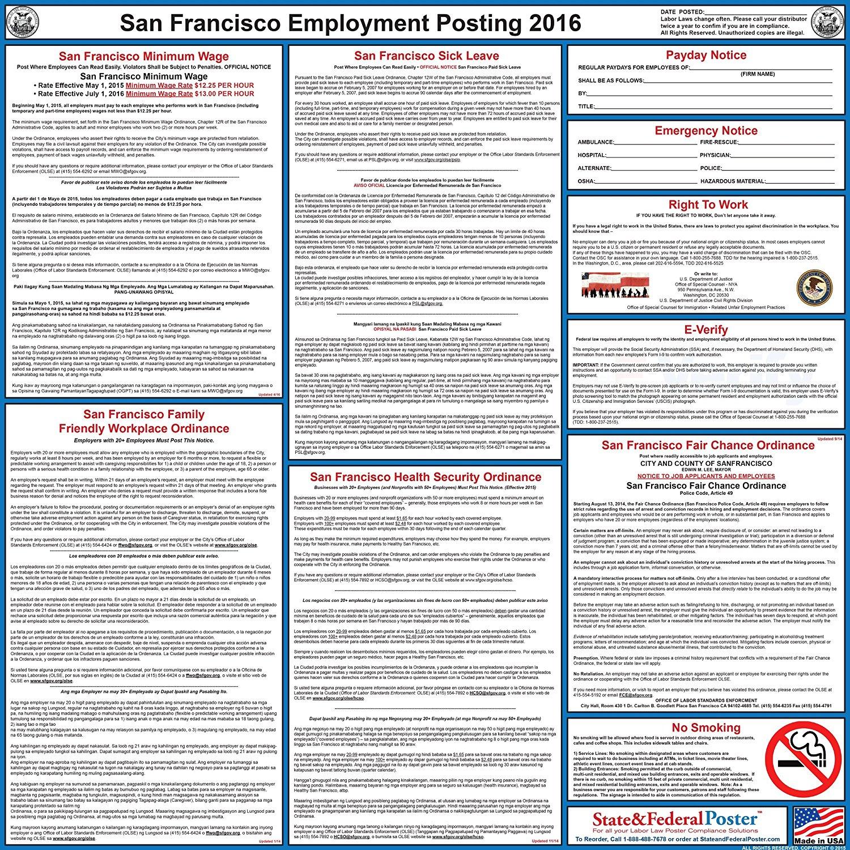 "2018 San Francisco Labor Law Poster - Laminated 24"" x 24"""