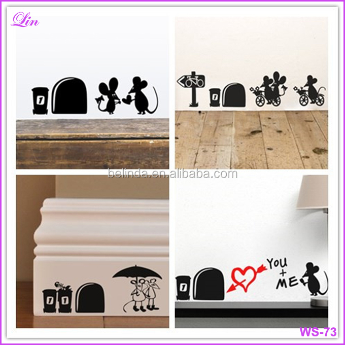 Wall Stickers I love you so much mouse hole wall stickers decals Living room Bedroom wall