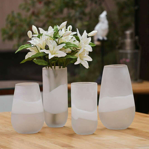 Creative White Frosted Printing Round Shape Mouth Blowing Household Craft Glass Flower Vase